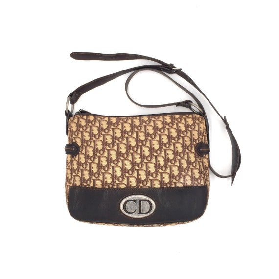 91a86123e076 Authentic Vintage Dior CD logo trotter brown crossbody bag