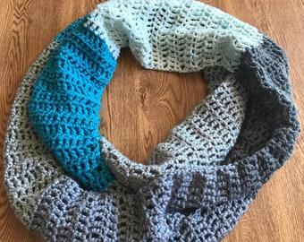 Infinity Scarf- Handmade - Crochet - Blue and Gray