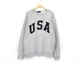 84a09efa8 Polo USA By Ralph Lauren Crewneck Sweatshirt Jumper Embroidery Big Spell  Out Logo Pullover  Fashion Style   Streetwear   Large Size