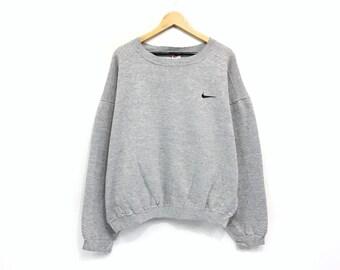 5cdb666a98115b Vintage Nike Crewneck Sweatshirt Jumper Embroidery Small Swoosh Logo  Pullover   Sports Brand   Streetwear   Large Size   Fashion Style