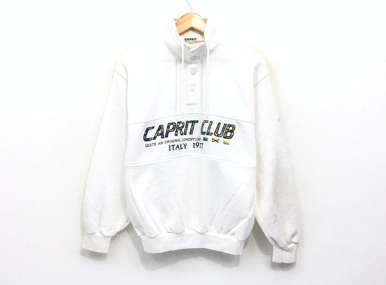 c777e7ea5 Caprit Club Half Button Sweatshirt Big Logo Print Rainbow
