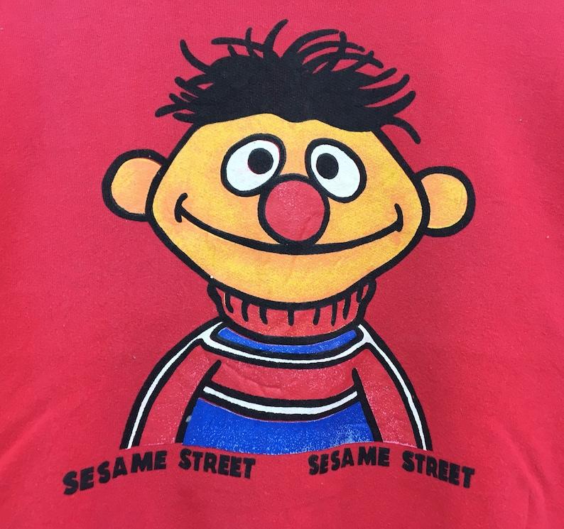 Ernie Crewneck Sweatshirts Big Print Logo Pullover  Sesame Street Character Cartoon Fashion  Streetwear  Small size