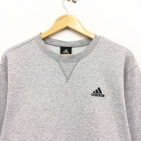 2cc3c3990b69f Adidas Crewneck Sweatshirt Jumper Embroidery Small Logo Pullover Sportswear  / Streetwear/ Fashion Style / Large Size / Grey Colour