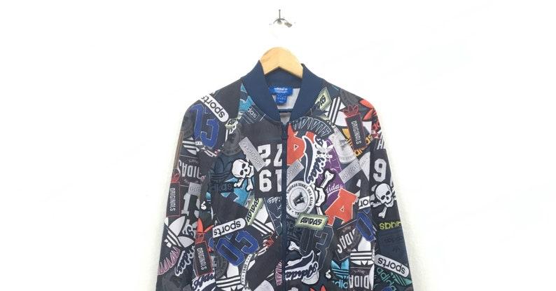 a5bc094833d7d Adidas Sweater Sweatshirt Full Print Spell Out Logo Pullover Sportswear /  Streetwear / Hip Hop Style / Urban Fashion / Medium Size