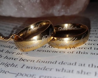 Bands The One Ring Sterling Silver To Rule Them All Elvish Cosplay Ring Lord of the Rings Wiccan Jewelry