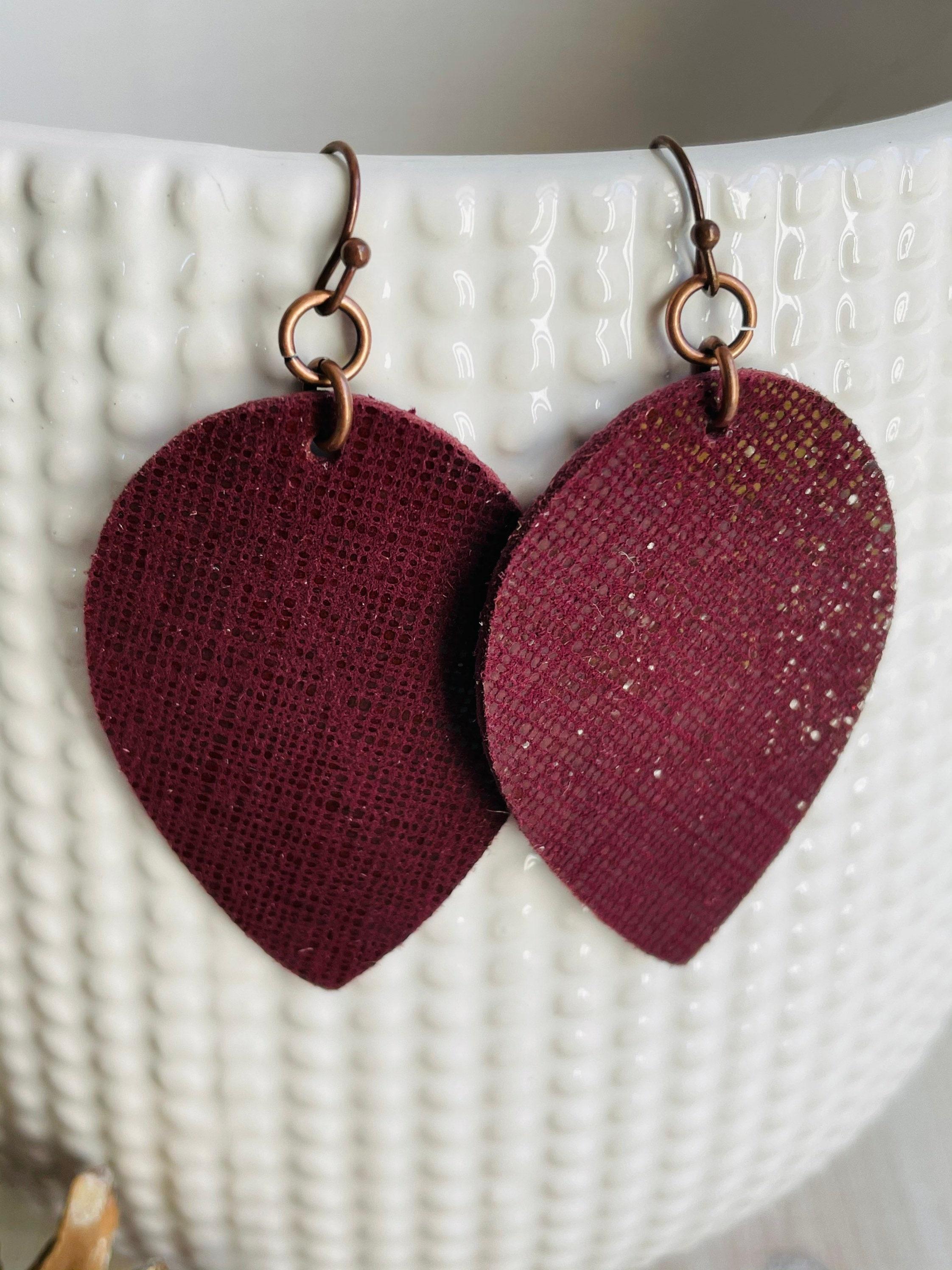 Genuine leather earrings Burgundy earrings.