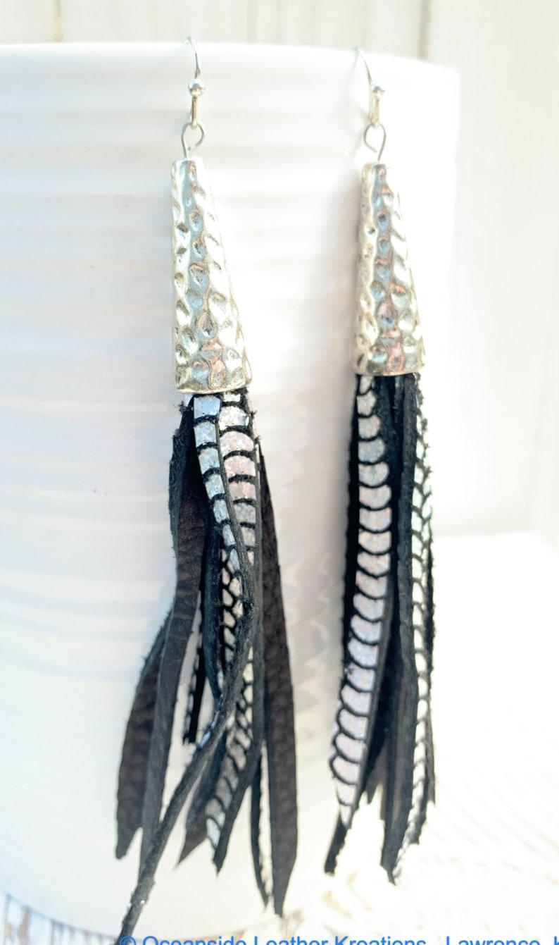 Leather Earrings Black Tassel Leather Earrings Tassel Leather Earrings Black Leather Earrings
