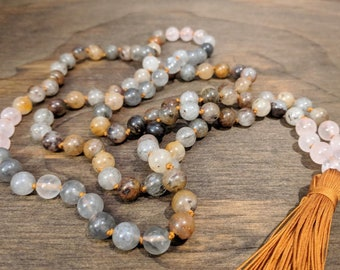 Lodolite Quartz and Rose Quartz Mala 108 Bead Mala Meditation Mala Hand knotted Mala Mala 108