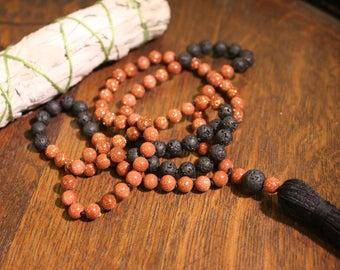 Goldstone and Lava Mala 108 bead mala Hand knotted mala, meditation jewelry, yoga jewelry.