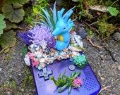 Kingdra ( キングドラ) Deep Purple Gameboy Color Succulent Planter Pokemon Terrarium