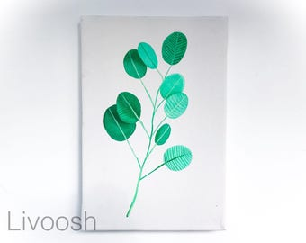 Green leaves - wall painting - acrylic - stretched canvas - ready to hang - Original handmade - Livoosh. 20x30 cm.
