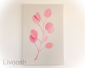 Pink leaves - Acrylic wall painting - stretched canvas - ready to hang - Original handmade - Livoosh. 20x30 cm.