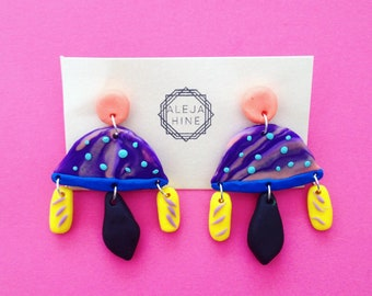 Polymer clay abstract earrings, space ship earrings, colourful earrings, bright earrings, art earrings