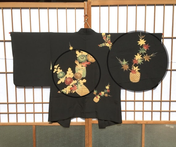 Black haori with maple leaves and chrysanthemum fl
