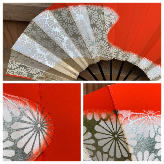 Vintage Japanese fan - sensu - folding fan - Geish