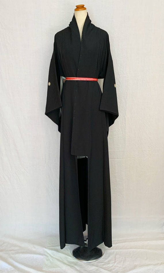 Black silk kimono, black silk robe, black silk bat