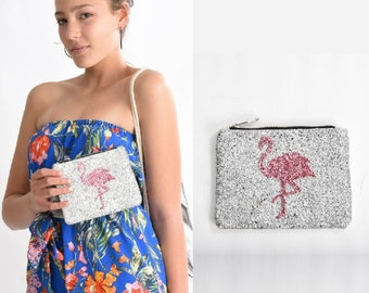 cute makeup bags flamingo gifts trendy gifts for teenage girl gifts teen girl gifts flamingo makeup bag sparkly flamingo pouch