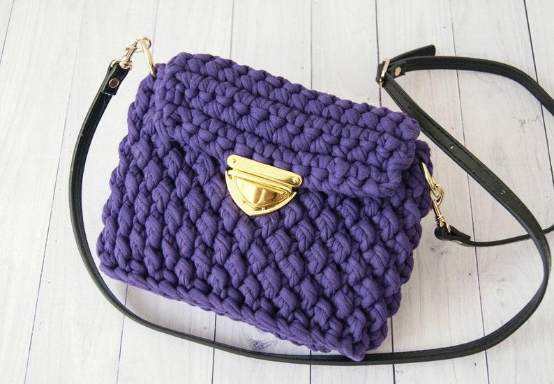 b4f32090361 Purple crossbody bag for women Crochet bag Designer handbags Crochet  handbag Clutch purse Messenger bag women