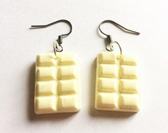 White chocolate bar earrings