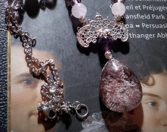 Lodolite Quartz necklace, Pearl pink quartz, labradorite and Czech glass