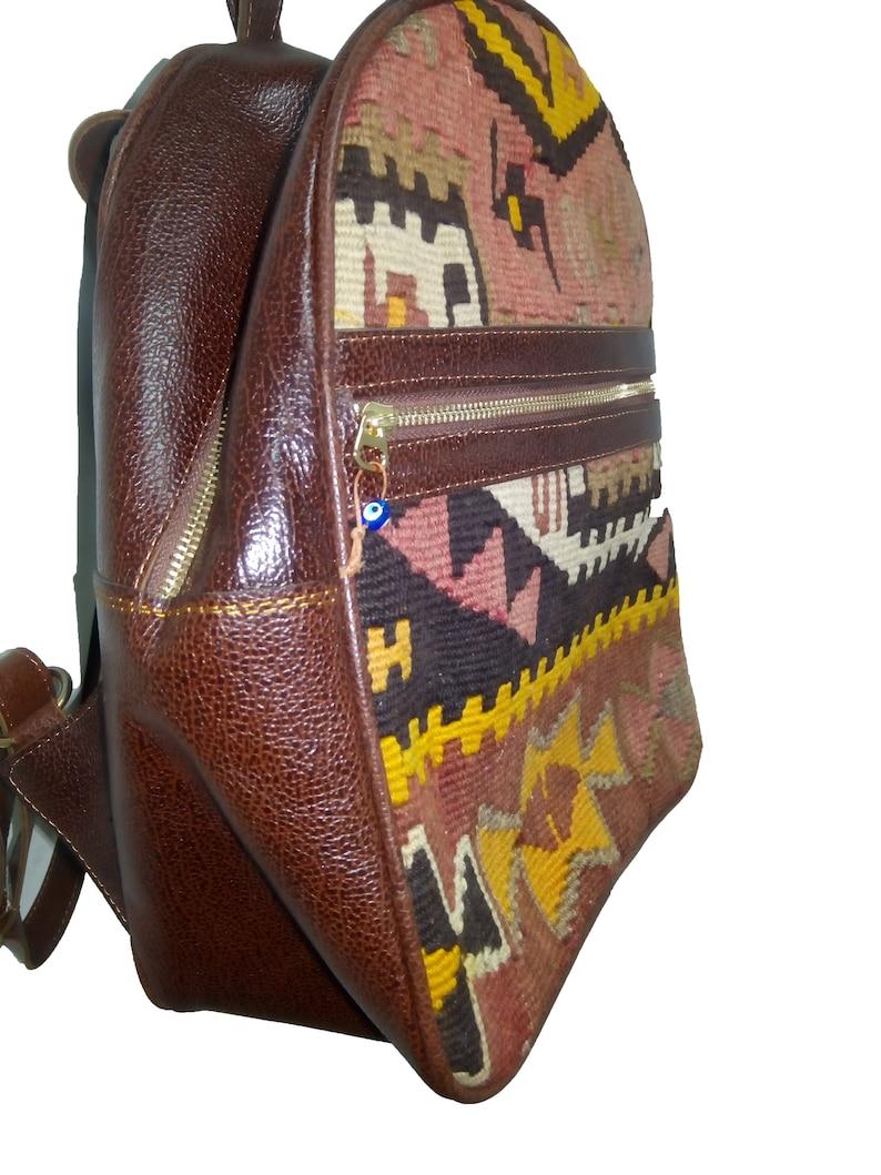 Handmade Kilim Leather Backpack 30x35cm 11.8x13.7 inch