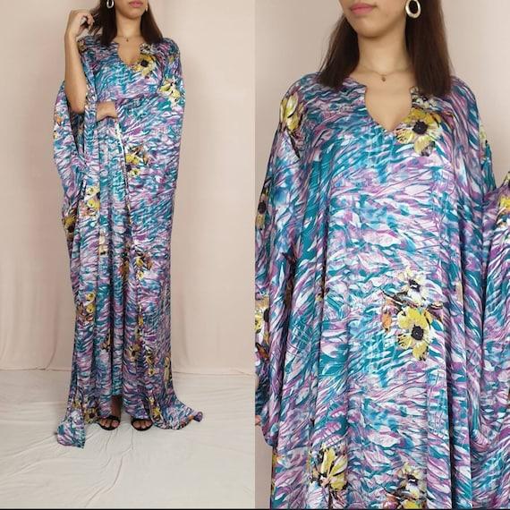 Printed satin silk kaftan,elegant kaftan, Kaftan dress, Silk kaftan,caftan, Long Sleeves Dress, Plus Size Clothing, Maxi Dress, Long Dress,