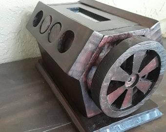 Wooden V8 engine kinetic sculpture.