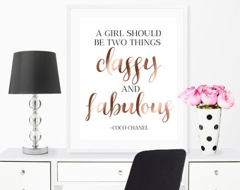 Chanel Quote, Chanel Wall Art, Chanel Print, Chanel Printable Decor, Coco  Chanel Quote, Girly Room Decor, Rose Gold Bedroom Decor,Vanity Art