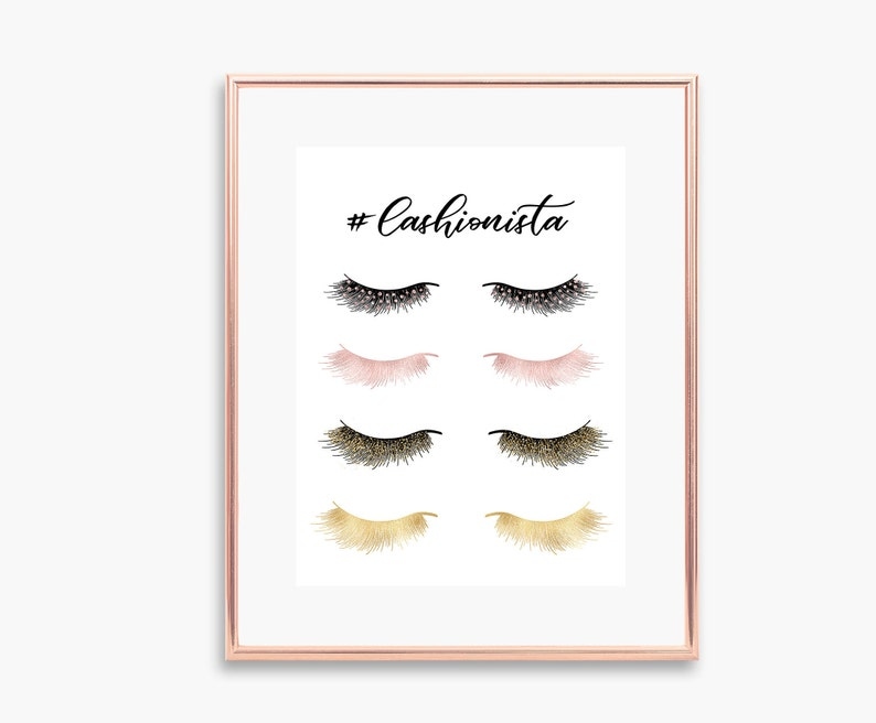 Lashionista Eyelashes Extensions Eyelashes Decor Lash Extensions Eyelashes  Print Salon Decor Makeup Decor Lashes Decor Lashes Poster Lashes