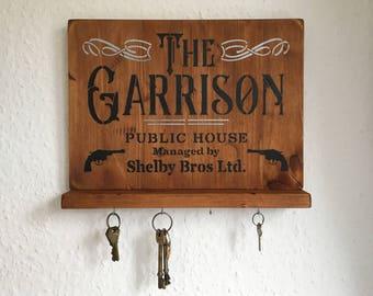 Peaky Blinders Gift, Peaky Blinders Merchandise, Peaky Blinders wall mounted 'GARRISON PUB' key holder