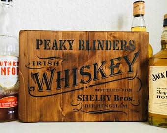 Peaky Blinders Gift, Peaky Blinders Merchandise, Peaky Blinders Sign, Whiskey distressed wooden sign