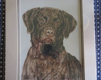 Rod Arbogast CHOCOLATE LAB Original WATERCOLOR Print 132/250--Signed/Autographed