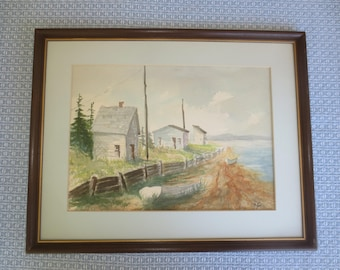 """BOATHOUSES WATERCOLOR Signed RED Framed & Matted Original Picture --15.25"""" x 19"""""""
