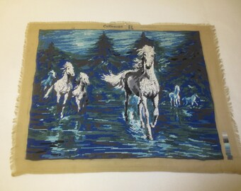 "Margot CHEVAUCHEE Wild Horses Needlepoint Petit Point - France--20"" x 25.5"" Design"