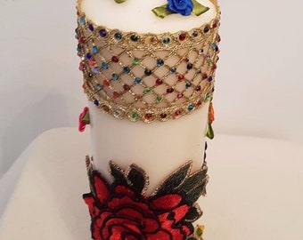 Hand Decorated Candle Mehndi Henna One of a Kind Wedding Birthday Decorations