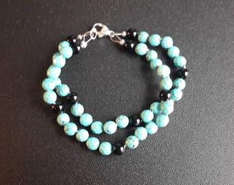 Turquoise and Onyx Double Strand Bracelet