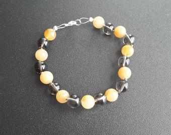 Smoky Quartz and Serpentine Bracelet