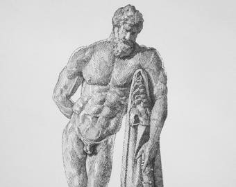 Farnese Heracles/Hercules in Black Ink
