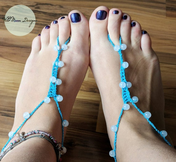 Blue Mermaid Barefoot Sandals, Beach Footless Sandals, Foot Thongs, Foot Jewelry, Anklet, Crocheted Barefoot Sandals, Blue Handmade Sandal