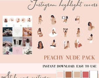 Instagram Story Highlight Icons  - Instagram Story Covers - Nude, peach  lifestyle  - Beauty - Highlights