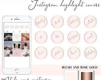 Instagram Story Highlight Icons  - Instagram Story Covers - Blush Rose gold lifestyle  - Highlights