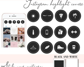 Instagram Story Highlight Icons  - Instagram Story Covers - Monochrome - Beauty - Highlights