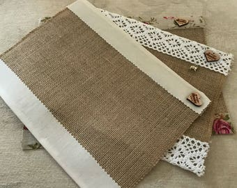Handmade vintage style place mats set of four