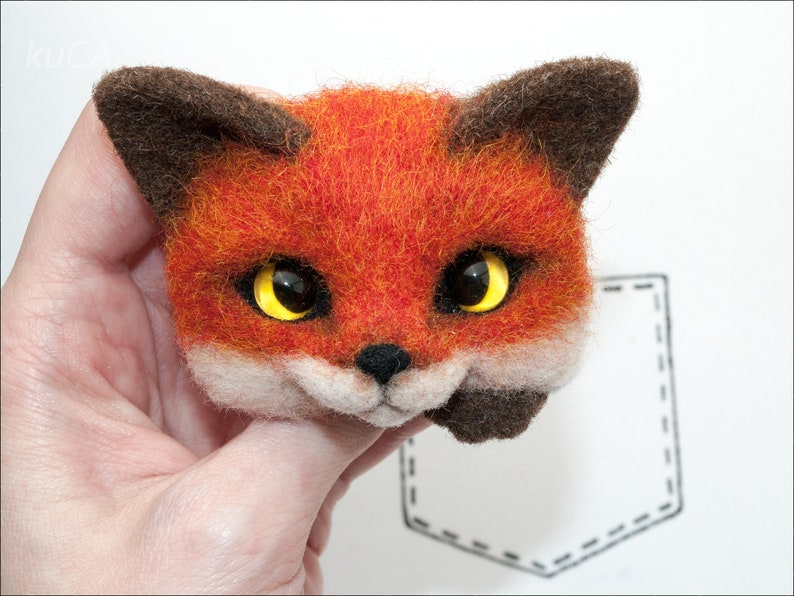 Felted Fox pin little red Fox brooch orange Made of Wool Gift for her