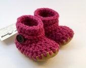 Raspberry Pink Wool Slipp...