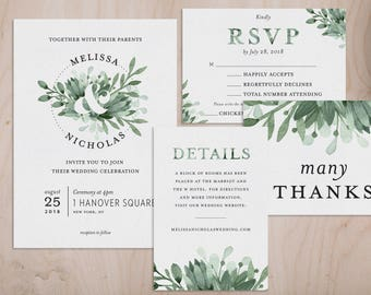greenery ampersand watercolor wedding invitations and wedding suite customizable printable wedding invitation kit digital download