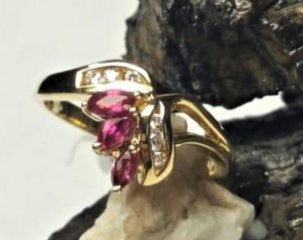 14 Karat Yellow Gold Ruby & Diamond Ring