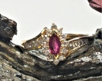 18 Karat Yellow Gold Ruby & Diamond Ring