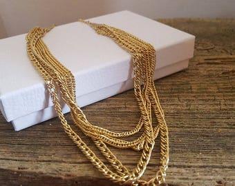 Vintage Multi Chain Gold Tone Necklace