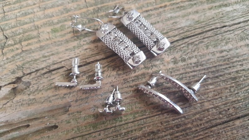 FOUR pair Vintage Four Pair lot of Silver Tone and Crystal Rhinestone Earrings Crystal Earrings Star Earrings Silver Mesh Earrings